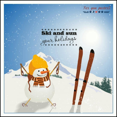 Snowman with skis  on background of winter mountains Illustration