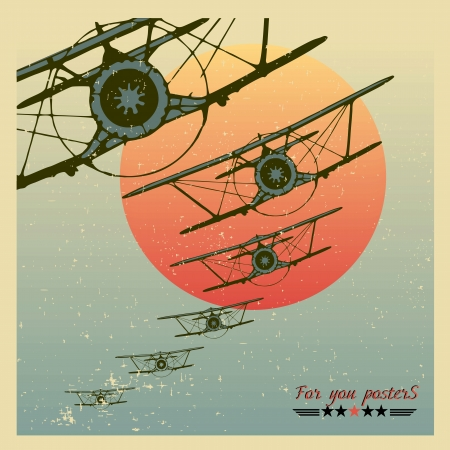 aircraft bomber: Vintage Planes dive against the evening sun Illustration