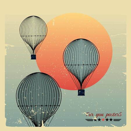 Vintage hot air balloons fly against the evening sun Vector
