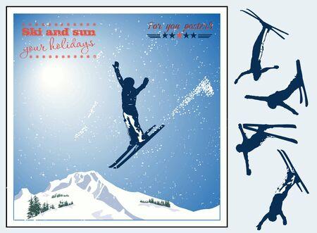 narciarz: Alpejski krajobraz, narciarz latania w słońcu i góry