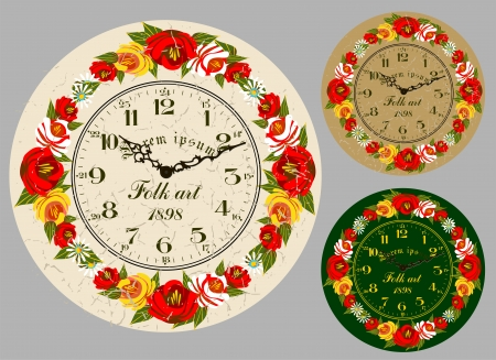 Folk Art  Antique wall clock, set the dial and hands  Illustration