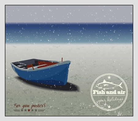 fishing boat: 해변에서 낚시 보트, 벡터 배경 일러스트