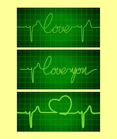 Stylized cardiogram of love Vector