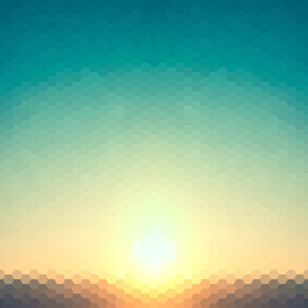 abstract background evening or dawn sun of hexagons Vector