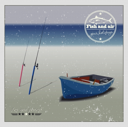 Fishing boat and fishing rods on the beach, vector background Illustration