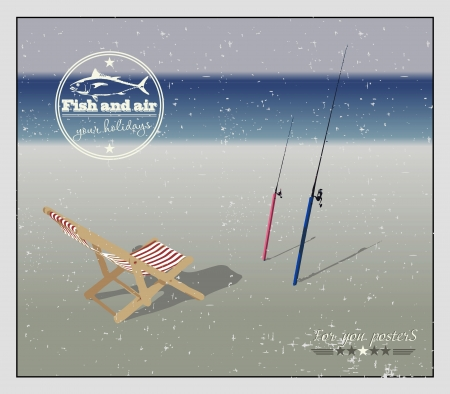 chaise lounge: Chaise lounge and fishing rods on the beach. Vector background