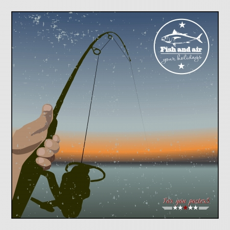 angling rod: Fishing at sunset. Retro poster