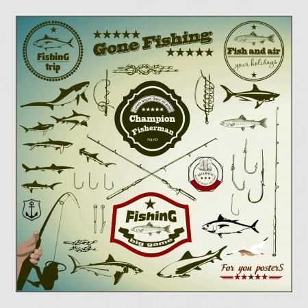 fishing hook: Vector Set: Etichette di pesca d'epoca e francobolli