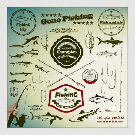 fishing bait: Vector Set: Vintage Fishing Labels and Stamps Illustration