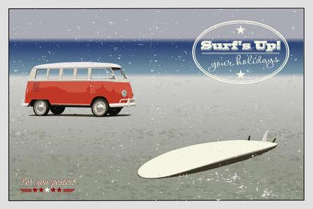 minibus: Retro minibus and surf on the beach