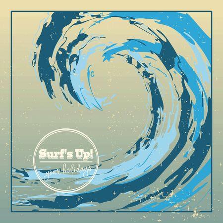 Tasarım şablonu kaba sörf okyanus dalgası büyük damla düşme Illustration