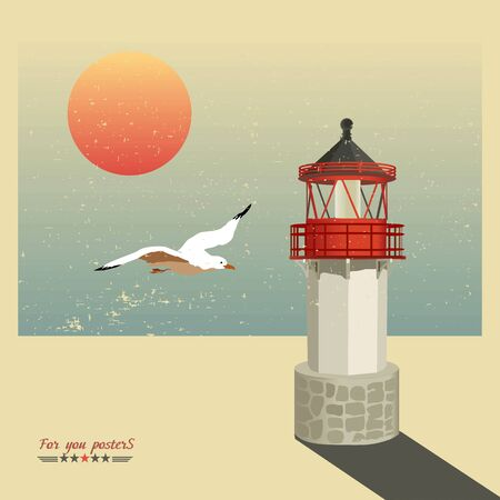 deserted: Lighthouse and a seagull on a deserted beach. Retro vector.