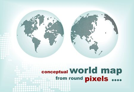 pixelated: conceptual world map from round pixels