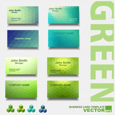 Modern business card template, green set