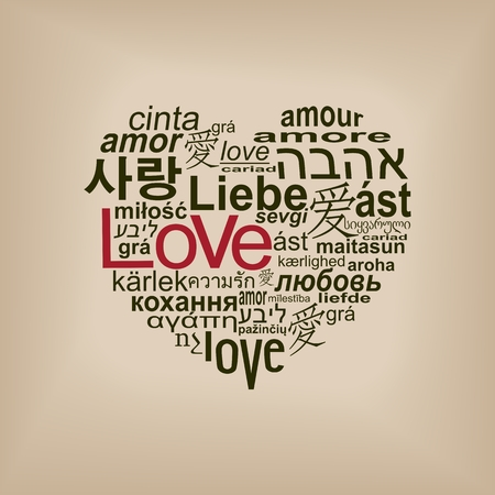 love words: World languages of word love forming a heart shape Illustration