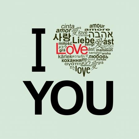 """Seni seviyorum. Birçok dilde kelime """"aşk"""" yapılmış bir kalp Illustration"""