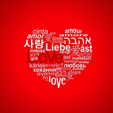 A heart made of word  love  in many languages Illustration