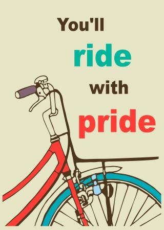 """Bir bisiklet ve yazıtta """"gururla tüm yolculuğu"""" Retro Poster  şablon kartı."""