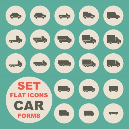 Set of flat icons, car form Stock Vector - 25249221