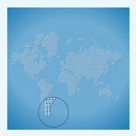 Digital World Map with binary code Vector
