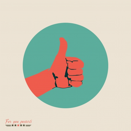 cool man: Modern flat banner with hand showing thumbs up (Human hand giving ok ) Illustration