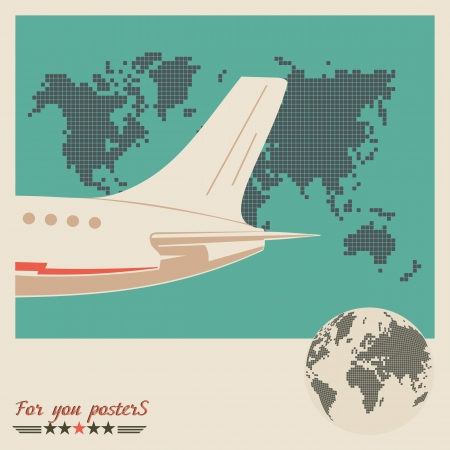 Airliner on world map background, retro poster. Flat  design