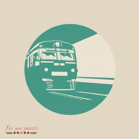 treno espresso: Treno, emblema ferroviario. Design piatto vettore