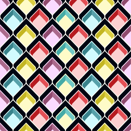 dimensions: Abstract colorful boxes. Retro seamless pattern. Background Illustration