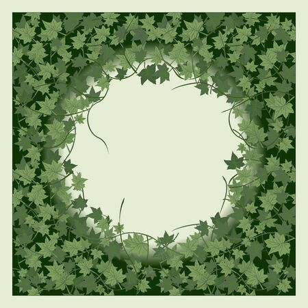 creeping: Ivy. Seamless pattern with round frame