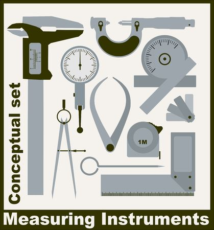 caliper: Measuring instruments,  conceptual vector set Illustration