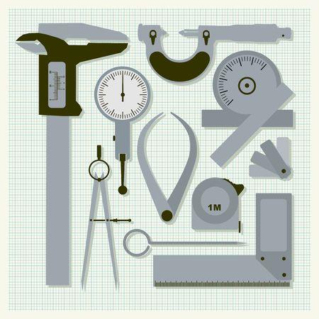 caliper: Measuring instruments on graph paper,  conceptual vector set Illustration