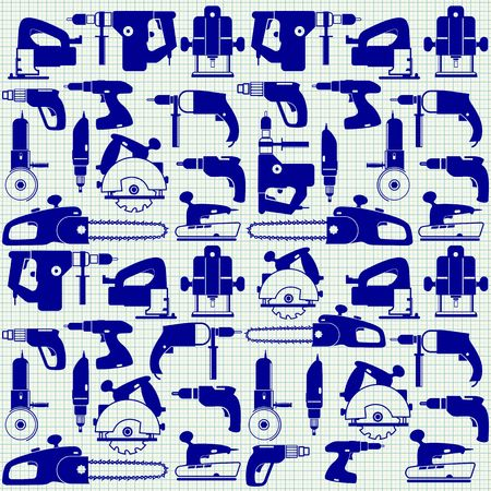 Power tools on graph paper, seamless pattern