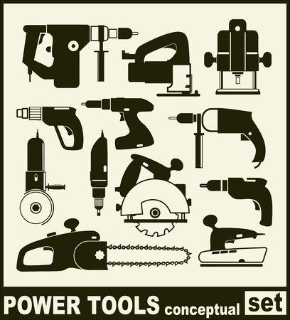 Elektrisch gereedschap - conceptuele set van geïsoleerde vector pictogrammen