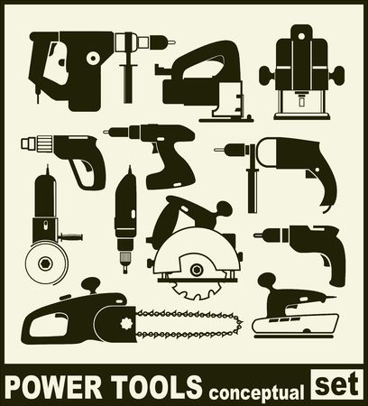 fastening: Power Tools - conceptual set of isolated vector icons Illustration
