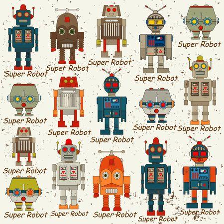 ロボットのシームレスなパターン、漫画のベクトル図  イラスト・ベクター素材