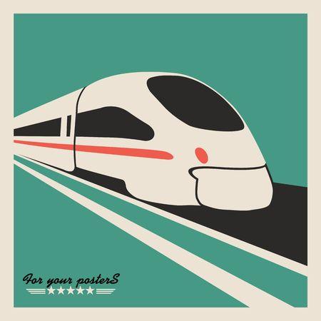 treno espresso: Treno, emblema ferroviario. Disegno vettoriale piatto