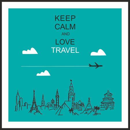 """Seyahat ve turizm arka plan. Kalır eller dünya turistik ve slogan """"sakin ve sevgi seyahat tutun"""""""