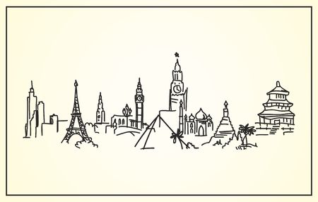Sketch,Hand-drawing panorama the worlds landmarks Vector
