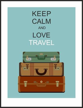 """Vintage seyahat bagaj arka plan ve sloganı """"sakin ve sevgi seyahat tutun"""" Illustration"""