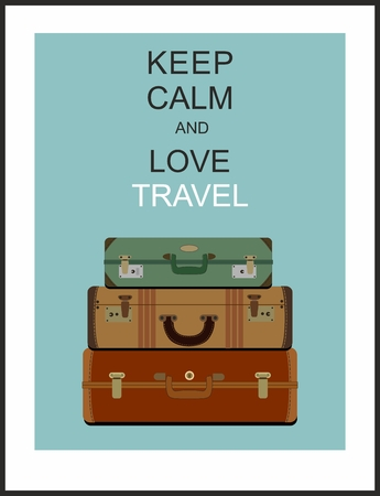 Vintage travel luggage background and slogan Keep calm and love travel Illustration