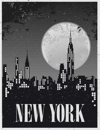 보름달을 배경으로 뉴욕의 밤 포스터 일러스트