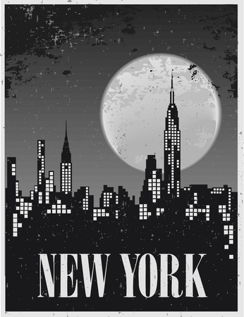 skyline city: Poster of a night in New York against the backdrop of a full moon
