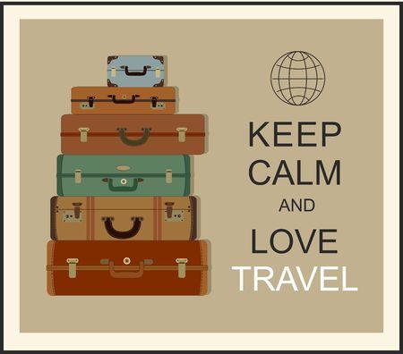 """Vintage reisbagage achtergrond en de slogan """"Keep calm en liefde reizen"""" Stock Illustratie"""
