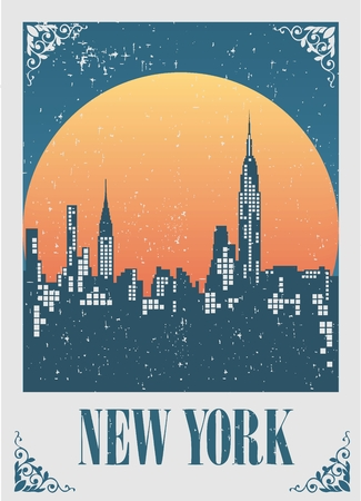 An illustration of New York City skyline at sunset Vector