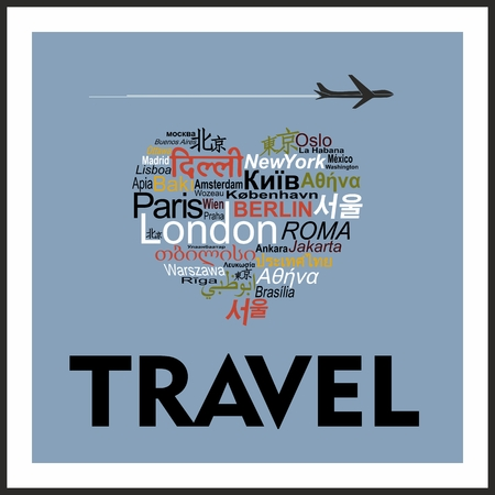 Conceptual inscription I love travel, Heart of cities in multiple languages Vector