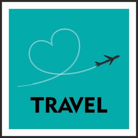 Love Travel Concept. A Airplane flying leaving behind a love shaped trail Vector