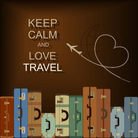 """bagagli: Sfondo vettoriale con valigie e slogan """"Mantieni la calma e l'amore di viaggi"""""""