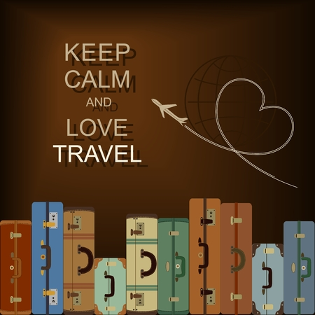 Vector background with suitcases and slogan Keep calm and love travel Illustration