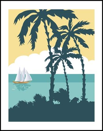 ocean view: Vintage seaside view poster. Vector background.