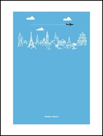 Travel and tourism poster . Drawn hands world attractions Vector